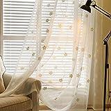 Starsglowing 2PCS nuovo voile occhielli tenda tenda tenda sciarpa trasparente tenda della finestra corrente che scorre moda tessuti per tende che vivono camera da letto 245x140cm ambiente (bellissimi fiori)
