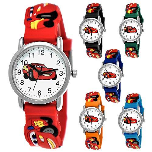 Kinder Autos Cars Kinder Uhr Jungenuhr Mädchenuhr Auto Rennauto Armbanduhr Silikon Armband Junge Kinderuhr Schwarz Helblau Blau Rot Orange Grün Sport-Uhr Lern-Uhr 3D (Rot - Bunt)