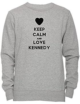 Keep Calm And Love Kennedy Unisex Uomo Donna Felpa Maglione Pullover Grigio Tutti Dimensioni Men's Women's Jumper...