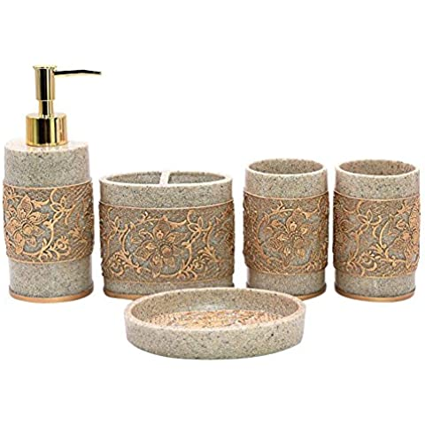 Your Gallery tallado retro Set de baño Set de accesorios para baño Set Holder cepillo de dientes Vaso jabonera Loción botellas, resina, dorado, talla única