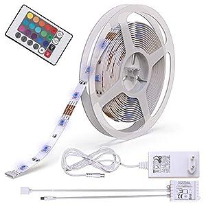B.K.Licht LED Stripes, 5m Stripe, Lichterkette, Band, Streifen, LED Leiste, LED Lichtleiste, LED Bänder, Lichterkette LED, weiß, bunt, inkl. Fernbedienung, inkl. Farbwechsel, selbstklebend
