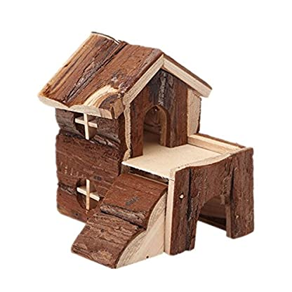 emours Natural Chewable Hamster Hideout Wooden Hut, Small 1