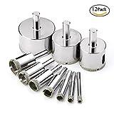 Kobwa 12PCS Diamant Bohrer Bits Hollow Core Extractor Remover Tools Lochsägen Set für Glas, Keramik, Stein, Porzellan, Fliesen, Marmor etc.