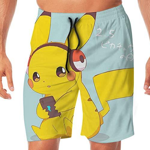 DailiH Badehose Cute Pokemon - Pikachu Quick Dry Beach Boardshorts Badeanzug Mit Seitentaschen Für Jugend/MÄNNER/Jugendliche Teen Boys (Teen Cute Boys)