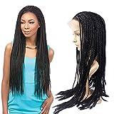 newfeibin Kunsthaar-Perücke Hair kleine Box geflochtenen Lace vorne für schwarz