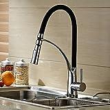 Hiendure® Ottone massiccio tirare fuori spruzzo rubinetti lavello gomma da cancellare Cromo, colore nero