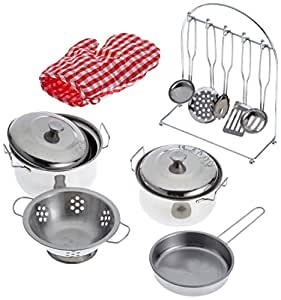 Childrens Toy Metal Cooking Pots, Pans, Oven Glove & Utensils Set
