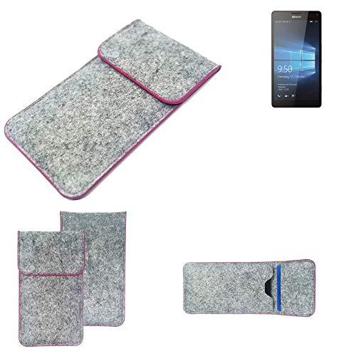 K-S-Trade® Filz Schutz Hülle Für -Microsoft Lumia 950 XL Dual SIM- Schutzhülle Filztasche Pouch Tasche Case Sleeve Handyhülle Filzhülle Hellgrau Pinker Rand