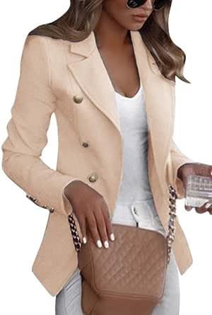 Shallood Donna Manica Lunga Colletto Cappotto Elegante Ufficio Business Blazer Top Tinta Unita Slim Fit Giacca con Pulsante Corto OL Carriera Tailleur Giacca