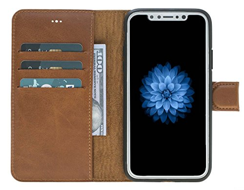 Solo Pelle kompatibel für das iPhone X/XS Case Lederhülle Ledertasche Wallet Tasche in Cognac Braun Burned Iphone Wallet Case