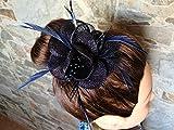 Tocado pamela pinza elegante pelo evento celebración boda comunión FLOR PLUMAS azul marino
