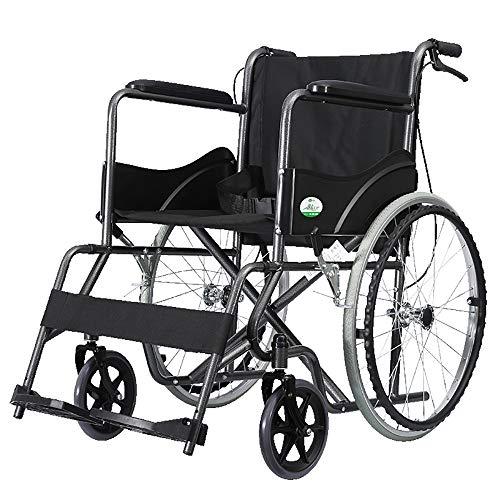GAIXIA Rollstuhl Bequemer Tragbarer Reisestuhl Dickes Stahlrohr Ältere Behinderte Handschieben Ersatzspaziergang Multifunktions Leichttransportklappbar Gehhilfen
