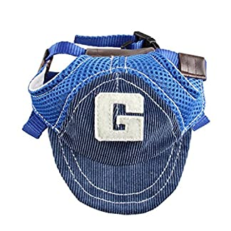 Greenlans Pet Dog Puppy Baseball Cap Visor Hat Sunhat Adjustable Chin Strap Sunbonnet- Size S M L 5