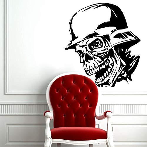 tzxdbh Schädel Halloween Helm Aufkleber Punk Tod Aufkleber Teufel Poster Name Autofenster Kunst Wandtattoos Parede Decor Wandbild 58 * 72 cm