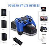 PS4 Controller Charger Dock, JAMSWALL Dual Fast USB Charge Station Charging Docking Station Stand, for PS4/PS4 Slim/PS4 Pro Controller with Charging Status Display Screen(Black)