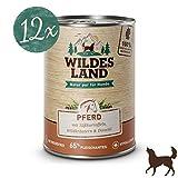 Wildes Land | Nassfutter für Hunde | Nr. 3 Pferd | 12 x 400 g | mit Süßkartoffeln, Wildkräutern & Distelöl | Glutenfrei | Extra viel Fleisch | Beste Akzeptanz und Verträglichkeit