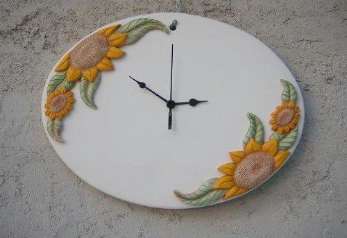 Orologio girasole ceramica
