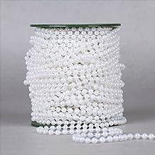dealglad® 6mm Perle artificielles Chaîne à perles Guirlandes 25m Mariage Décoration Lustre Centre de table 25 Meters blanc