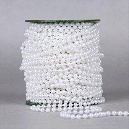 dealglad® 6mm Künstliche Girlanden Perlen Kette 25Meter Hochzeit Dekoration Deko Kronleuchter Mittelpunkt, plastik, weiß, 25 Meters (Kunststoff-perlenketten)