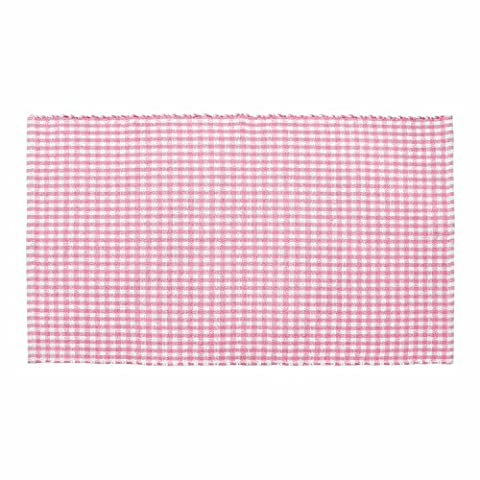 Homescapes 100% Cotton Gingham Check Rug Hand Woven Pink White 70 x 120 cm Washable at Home Kids Room or Large Bath Mat