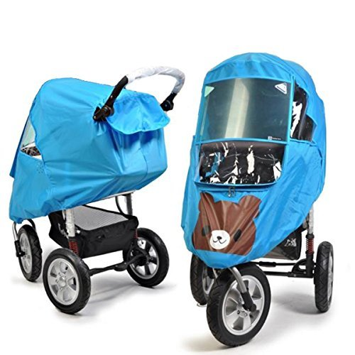 Universal Baby Weather Shield Baby Stroller Canopy Waterproof Rain Cover (Blue)