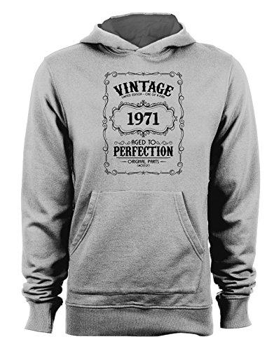 Felpa con cappuccio Vintage Limited Edition 1971- Age to perfection- idee regalo- compleanno- - Tutte le taglie Grigio