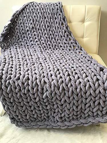 WJL Handgemachte Grobe Wolle Gewebte Decke Chenille Stick Gestrickte Decke Wolldecke Sofa Decke Nordic, Grau, 80 * 80