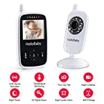 HelloBaby HB24 Video Baby Monitor Wireless with Night Vision 2.4 inch Digital Screen/Smart Camera with Temperature Monitors UK Plug
