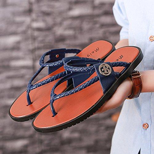 Xing Lin Chaussures DÉté Hommes Nouvelles Tongs _ Nouveau Hommes Sandales Sandales Pantoufles En Caoutchouc De Type Glisser-Comme La Mode blue