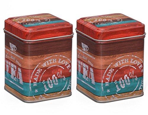 Teedosen Set / Gewürzdosen Set, 2 Stück 'Vintage Tea' je 50g, 60 x 60 x 80mm (LxBxH) eckig