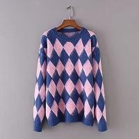 SZYL-Sweater Sudadera con capucha de punto flojo, jacquard salvaje, para mujeres, Europa y América, azul real, talla única
