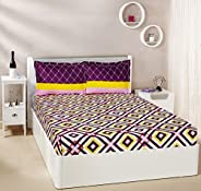 Amazon Brand - Solimo Diamond Dreams 144 TC 100% Cotton Double Bedsheet with 2 Complimentary Pillow Covers - V
