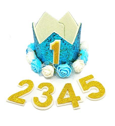 BIPY Blau Kaiserkrone Hund Geburtstag Hat, für Jungen Kleine Medium Große Hunde Katzen Schweine Sheeps Kaninchen mit 0–9Charms Wiederverwendbar Kostüme