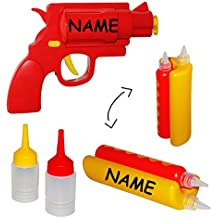 """"""" Hotdog + Pistole """" - Senf & Ketchup - Spender - incl. Name - Grillen / Senfspender - Quetschflasche lustig - Dosierflasche für Sossen - Kunststoff Sossenspender Hot Dog / Sauce / Saucenspender - Flasche Ketschupspender - Gastro"""