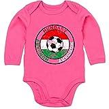 Sport Baby - Hungary Kreis & Fußball Vintage - 12-18 Monate - Fuchsia - BZ30 - Baby Body Langarm