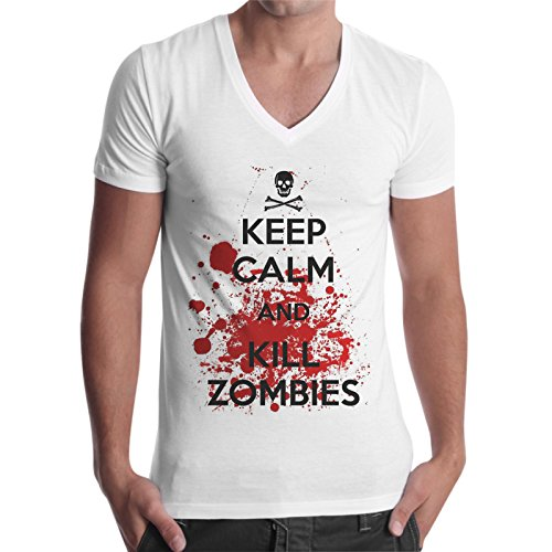 T-Shirt Uomo Scollo V Keep Calm And Kill Zombies The Walking Dead - Bianco
