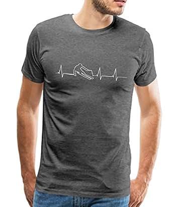 Spreadshirt Skifahrer Herzschlag Skifahren EKG Männer T-Shirt, S, Anthrazit