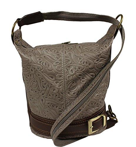 Schöne praktische Leder Graue Handtasche aus Leder Adele Stampa Grigia über die Schulter (Clutch Adele)