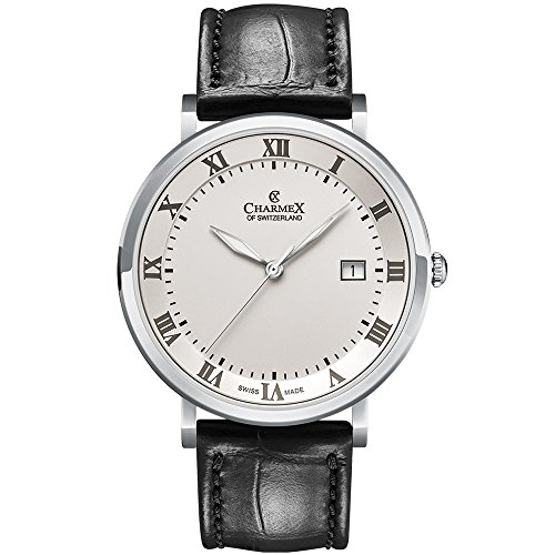 Charmex Men's Copenhagen 40.5mm Leather Band Steel Case Quartz Watch 2810