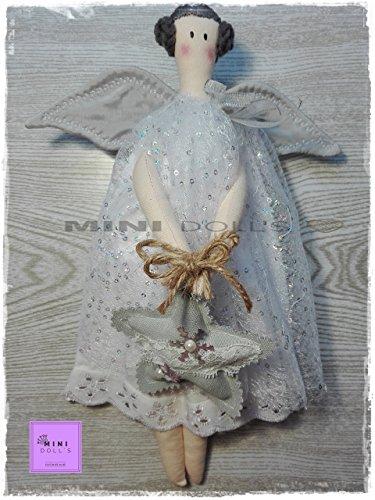 Muñeca de trapo para niñas. Muñecas de tela.Doll. Decoracion. Navidad.Bebe.Angelita gris