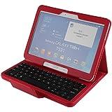 pasonomi Portefeuille, étui en cuir avec clavier Bluetooth amovible pour tablette Samsung Galaxy Tab (10,1) SM-T530 Rouge
