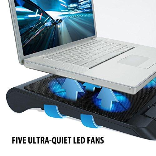 strengthen Notebook Laptop Khler PC Cooling Pad Stnder chiller mit 5 LED Lfter fr Gaming und Grafikdesign mit HP Lenovo MacBook Asus Acer Dell Alienware Odys TrekStor Medion Microsoft HKC und mehr Cooling Pads