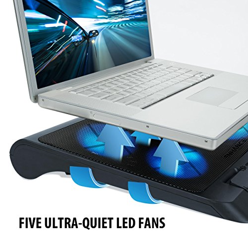 boost Notebook Laptop Khler PC Cooling Pad Stnder chillier mit 5 LED Lfter fr Gaming und Grafikdesign mit HP Lenovo MacBook Asus Acer Dell Alienware Odys TrekStor Medion Microsoft HKC und mehr Cooling Pads