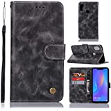 Danallc Huawei Honor 8X Case, Huawei Honor 8X Wallet Case,Back Shell, Premium Slim Leather Wallet Back Case With Credit Card ID Holder Protective Case Compatible With Huawei Honor 8X,Grey