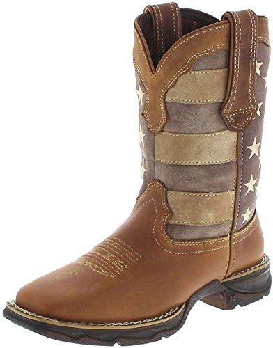 Durango Boots Lady Rebel DRD0107 Brown/Damen Westernreitstiefel Braun/Westernstiefel mit Stars und Stripes Motiv, Groesse:41 (9 ()