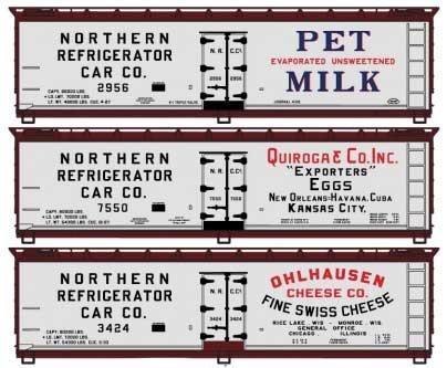 Spur H0 - Wood Reefer Northern Refrigerator 3 Stück