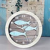 Abenily Hochwertiger Wecker Vintage mediterranen Stil Fisch Holz Wecker Dekoration blau