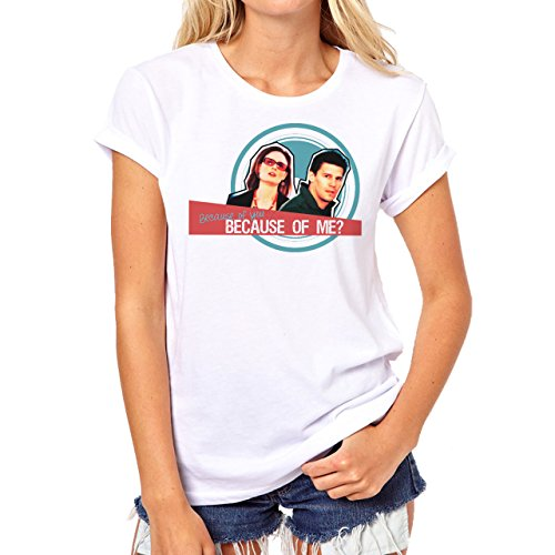 Bones Series TV Because Of You And Me Background Damen T-Shirt Weiß