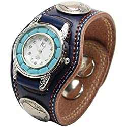 Kc,s Leather Craft Watch Bracelet Turquoise Movemnet 3 Concho Double Stitch Color Navy