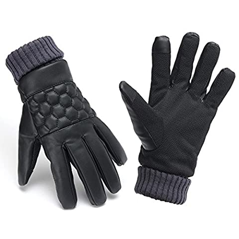 Inovey Men Thermal Leather Touch Screen Gloves Winter Outdoor Sports Warm Motorcycle Gloves